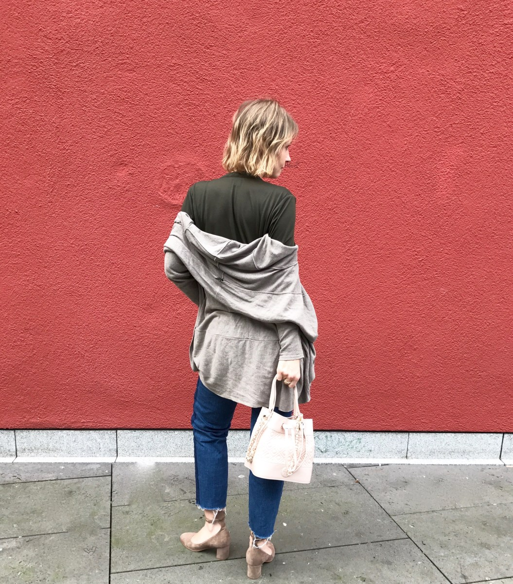 Khaki, longcardigan and Tory Burch bucket bag